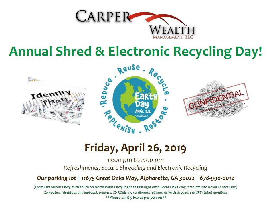 2019 Annual Shred & Electronic Recycling Day!